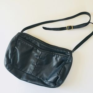 Vintage navy blue leather crossbody bag